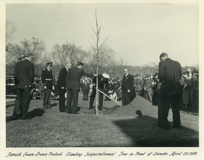 Danish Crown Prince Frederik Planting Sesquicentennial Tree in front of Danebo April 22, 1939